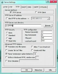 Za pomocą programu Serva można utworzyć i skonfigurować serwer TFTP w środowisku Windows. Za jego pośrednictwem można np. zainstalować w trybie PXE system Windows 7 lub 8 poprzez sieć lokalną.