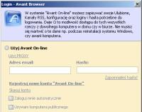 Okno powitalne umożliwia logowanie do nowej usługi Avant On-line