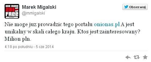 Marek Migalski chce sprzedać portal za...milion złotych. Wspomożecie byłego europosła?