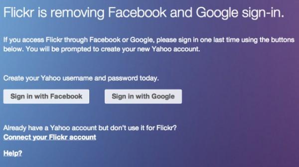 Flickr rezygnuje ze wsparcia dla kont Google i Facebooka