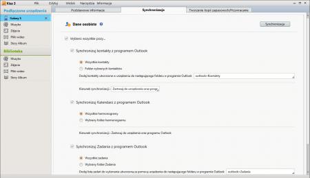 Opcje synchronizacji kontaktów, kalendarza i zadań z Outlokiem w programie Samsung Kies 3.