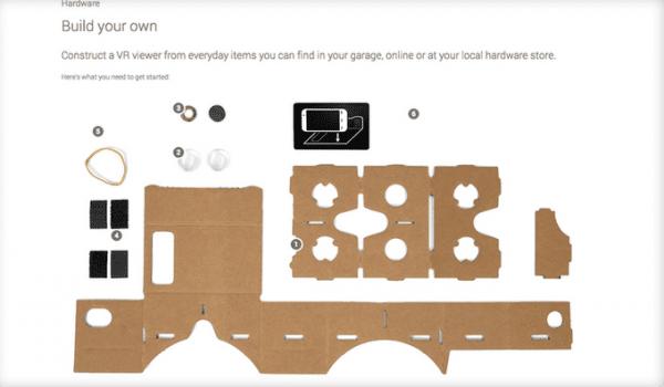 Google Cardboard - rozłożone
