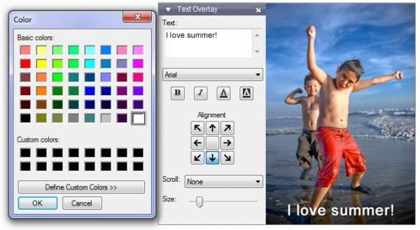 Photostage Slideshow Software - dodawanie napisów