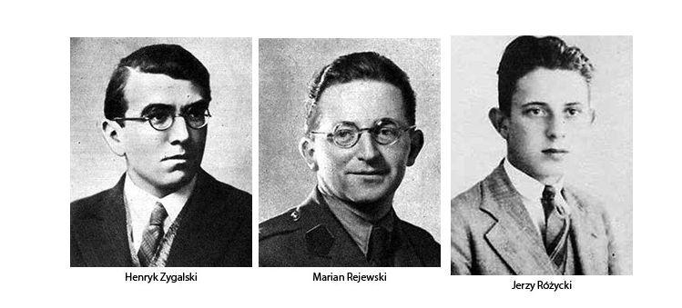 Polscy matematycy, którzy złamali kod Enigmy: Marian Rejewski, Jerzy Różycki i Henryk Zygalski