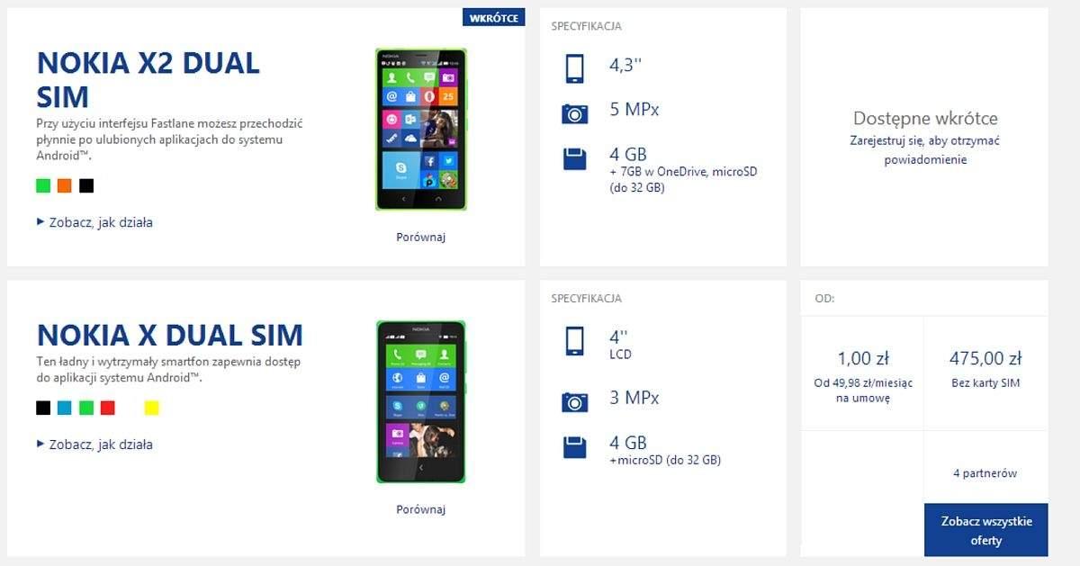 Nokia X2 na stronie Nokia.pl