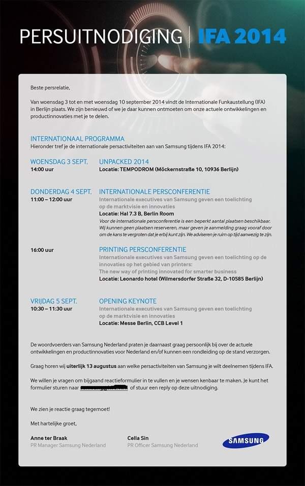 Zaproszenie Samsunga na konferencję UNPACKED 2014