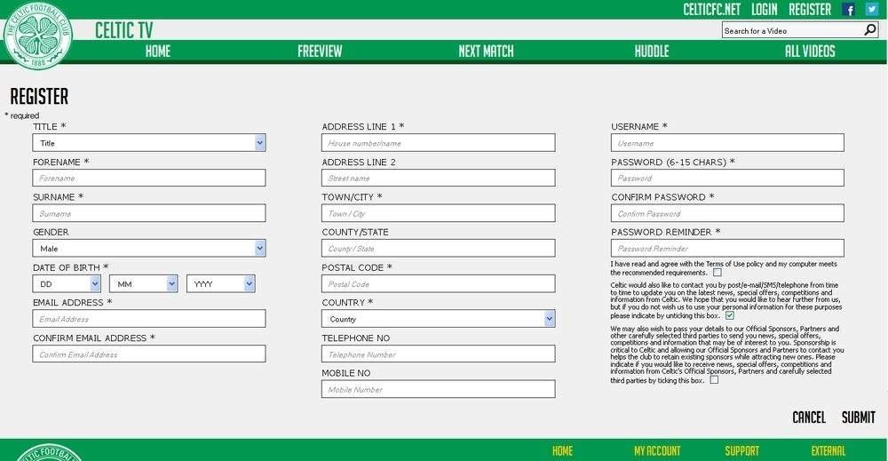 Mecz Legia Warszawa - Celtic Glasgow - rejestracja w Celtic TV