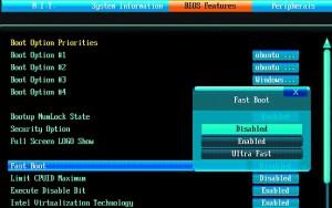 Opcja Ultra Fast zapewnia najkrótszy rozruch, lecz przed uruchomieniem Windows nie działają urządzenia USB.