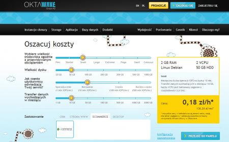 Kalkulator chmury Oktawave pozwala oszacować koszty obsługi instancji wirtualnej zgodnie z przewidywanym obciążeniem.