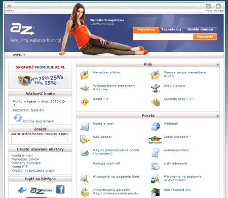 Klienci AZ.pl zarządzają swoim serwerem wirtualnym z poziomu panelu zarządzania CPanel.