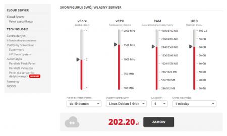 home.pl rozwija ofertę VPS i serwerów dedykowanych pod marką homecloud. W usłudze Cloud Server możesz dobrać parametry VPS-a według własnych potrzeb.
