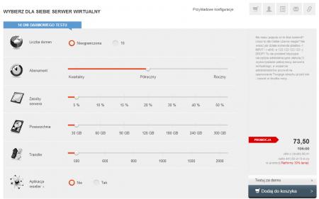 W ramach platformy e-biznes w Kei.pl samodzielnie dobierzesz parametry serwera (zasoby, powierzchnia dysku, transfer) oraz określisz tryb płacenia za usługę: kwartalnie, co pół roku lub rocznie.