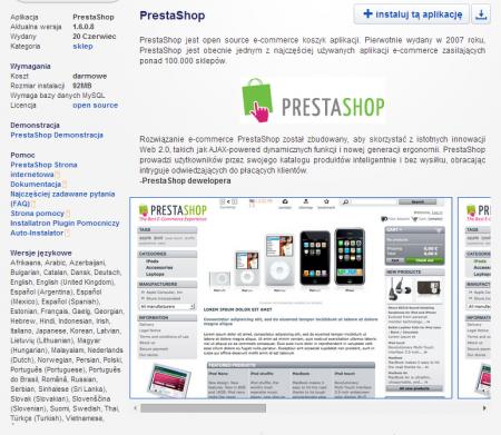 Autoinstalator aplikacji w Zenbox automatyzuje instalowanie oprogramowania sklepu PrestaShop.