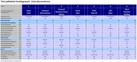 Test pakietów hostingowych. Sierpień 2014. Linia ekonomiczna.