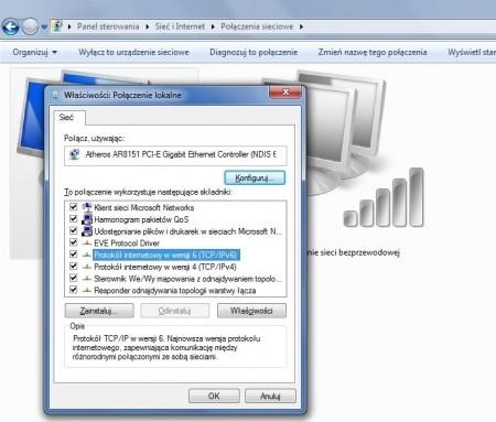 Jeśli łącze internetowe korzysta z TCP/IPv4, śmiało wyłącz nowszą wersję protokołu.