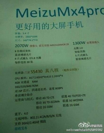 Specyfikacja Meizu MX4 Pro