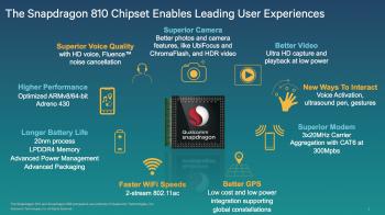 Już niedługo spodziewać się można nowych smartfonów z układami Snapdragon 810. Będą nie tylko wydajniejsze (nowy układ graficzny, procesor) ale też  lepiej wyposażone (zaawansowany aparat fotograficzny, rozbudowana obsługa za pomocą głosu i gestów)