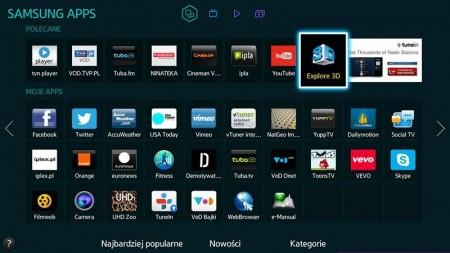 Widok aplikacji w menu Smart Hub telewizora Samsung