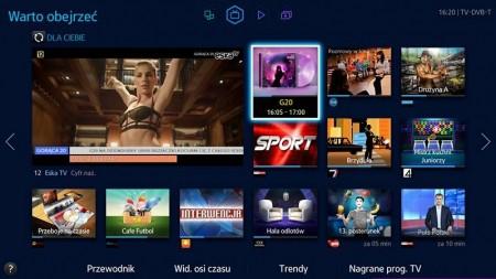Widok polecanych programów w telewizorze Samsung