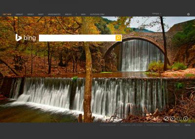 Bing jako przeglądarka zdjęć. Używane są one jako atrakcyjne wizualnie dynamiczne tło.