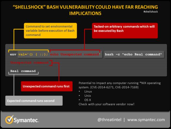 Stworzona przez Symantc infografika, wyjaśniająca jak może zostać wykorzystany Shellshock