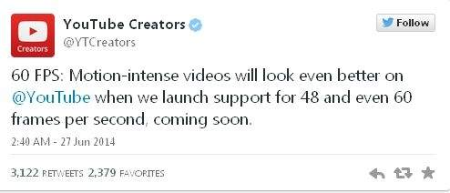 YouTube - deklaracja wsparcia trybu wyświetlania filmów z prędkością 60 klatek na sekundę