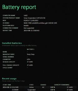 Windows 8 zapewnia bardzo przejrzysty raport o stanie baterii.