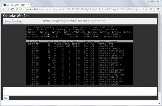 Zarządzanie instancją (serwerem wirtualnym) w chmurze może odbywać się z poziomu aplikacji napisanej w Javie, a uruchomionej w przeglądarce internetowej. Na zrzucie konsola udostępniana w ramach panelu zarządzania e24cloud.com.