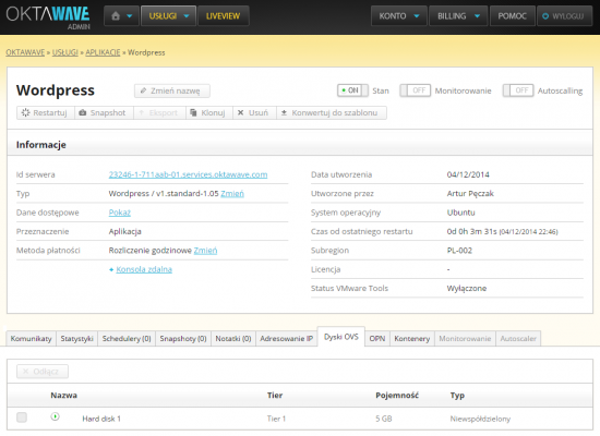 Zarządzanie instancją w chmurze Oktawave. Z tego miejsca możesz wykonać zrzut maszyny (snapshot), włączyć mechanizmy monitorowania oraz automatycznego skalowania oraz wyświetlić dane dostępowe do serwera.