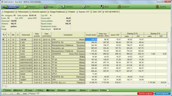 Rejestr VAT w programie Samozatrudnienie (SAM) firmy Format