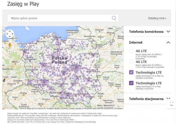 Zasięg LTE w Play. Znacznie gorzej jest gdy weźmie się pod uwagę jedynie sygnał dostępny wewnątrz budynków