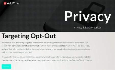 Kwestia zaufania – ten serwis marketingowy zapewnia w swojej witrynie funkcję Opt-Out (www.addthis.com/privacy/opt-out), która ma blokować śledzenie użytkowników.