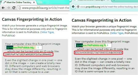 Ten sam komputer, lecz dwie różne przeglądarki – Chrome (z lewej) wyświetla zupełnie inny identyfikator niż Firefox (z prawej), choć obie aplikacje przetwarzają ten sam element Canvas.