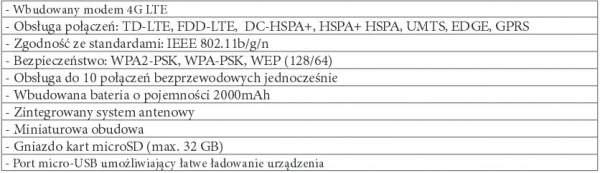 Specyfikacja routera MiFi 4G LTE ML0655