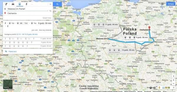 Mapy Google od teraz z informacjami o połączeniach PKP Intercity