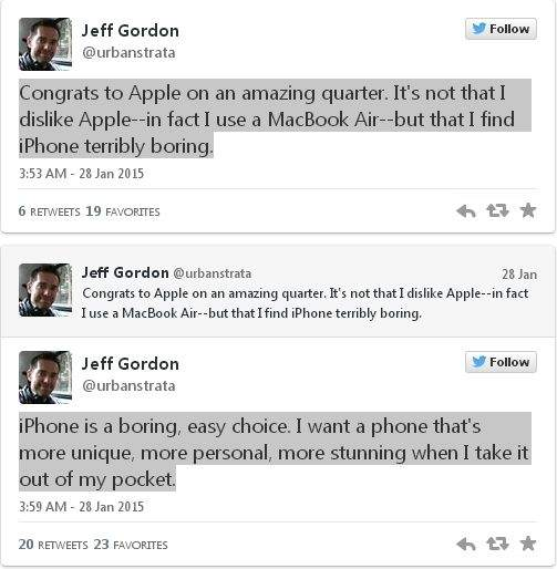 Komentarz Jeffa Gordona z HTC na temat popularności smartfonów  Apple