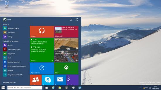 Wraz z Windows 10 do łask wraca menu Start, które łączy w sobie ceny menu znanego z Windows 7 oraz dynamiczne kafle wprowadzone po raz pierwszy w systemie Windows 8.