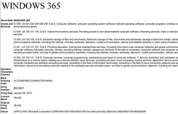 Wniosek o zastrzeżenie nazwy Windows 365