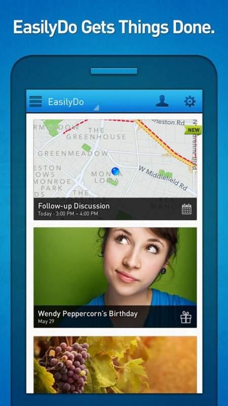 Easilydo Automatyka w telefonie: aplikacja EasilyDo (bezpłatna) może być twoim osobistym asystentem. Dla przykładu, przechowuje informacje o zbliżających się urodzinach znajomych, przypomina o spotkaniach zaplanowanych na dany dzień, wyznacza trasę dojazdu i najbliższe miejsca parkingowe, czy też dodaje do kontaktów ostatnie numery telefonów, gdy zauważy, że często się z nimi łączysz.