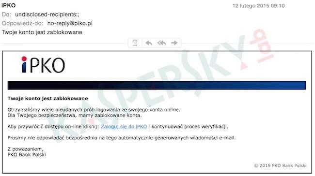 Wiadomość e-mail docierająca do użytkowników w ramach nowego ataku phishingowego (źródło: Kaspersky Lab)