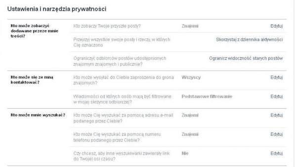 Ustawienia Facebooka