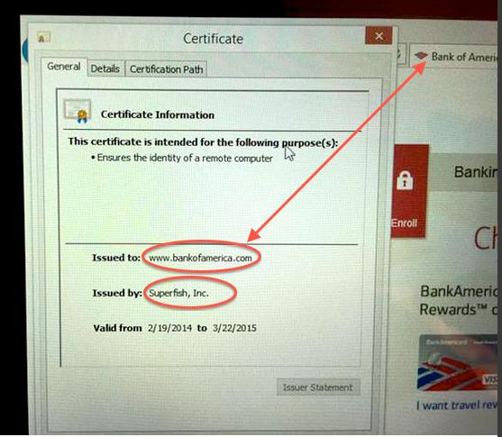 Fałszywy certyfikat dla Bank of America (źródło: konto na twitterze Kenna White)