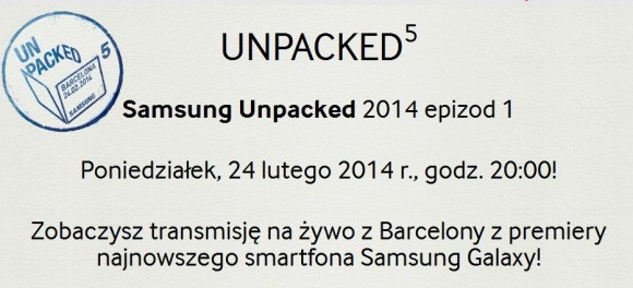 Zeszłoroczne zaproszenie na konferencję Samsung Unpacked podczas MWC 2014