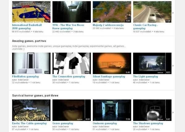 Klipy na YouTube (foto: własne)