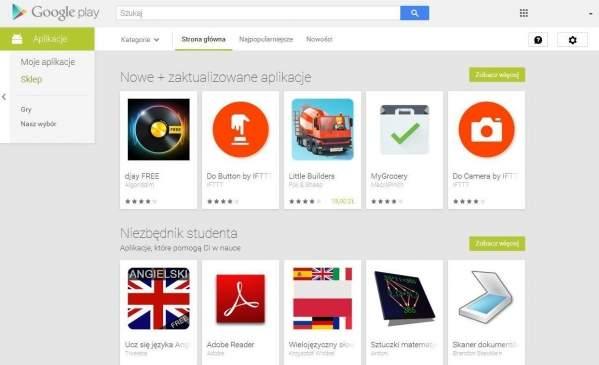 Witryna Google Play (foto: własne)