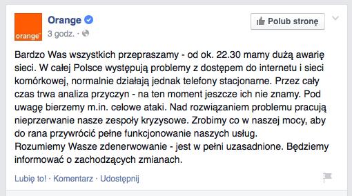 Orange poinformowało o problemach w nocy na portalu Facebook