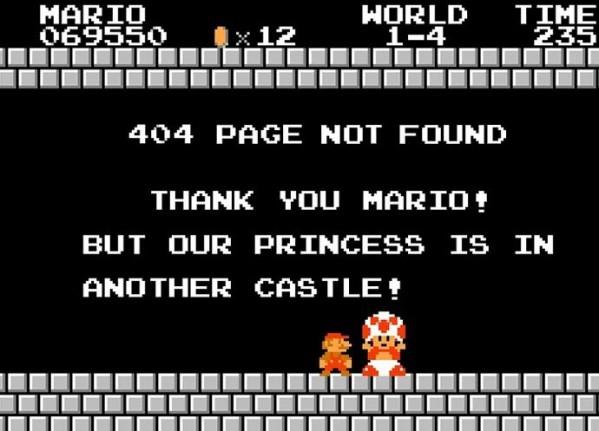 Nawet Mario trafi czasem na stronę 404...