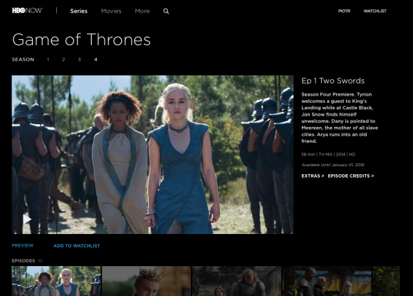 HBO Now to nowy serwis VOD, z którego przez miesiąc mogą korzystać bezpłatnie posiadacze urządzeń Apple mieszkający w Stanach Zjednoczonych