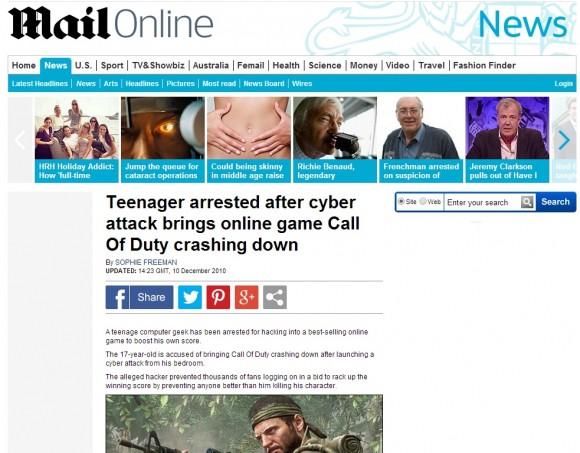 Brytyjskie media donosiły o młodocianym przestępcy, który sparaliżował serwery gry Call of Duty, aby uniemożliwić innym graczom pobicie jego rekordu.