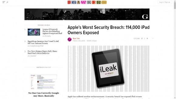 Serwis Gawker podał do wiadomości publicznej niektóre spośród danych wykradzionych z bazy AT&T.